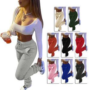 Damen Hosen Solid Color Heavy Sweater Stoff Sport-beiläufige Kordelzug Stapel Hosen mit Taschen Damenmode Leggings