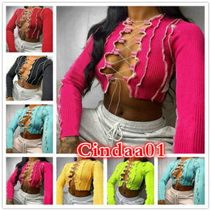 Sexy Women Top Designer Strap Fold Split Fork Breast T-shirt Wrapping Long Sleeve Blouse Fashion Casual Shirts Solid Color 2021