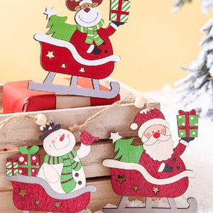 Christmas Tree Pendant Wooden Sleigh, Snowman  Elk  Santa Claus Hanging Decoration Home Party