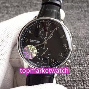 Les fabricants de haute qualité AJ usine V4 Version 7 couleurs Portugieser 371447 ETA A7750 Chronographe Automatique Cadran Noir 3714 Mens Watch Sapp