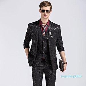 Suits Men Peinted Pattern 3piece Wedding Suits for Men Smart Casual Sets