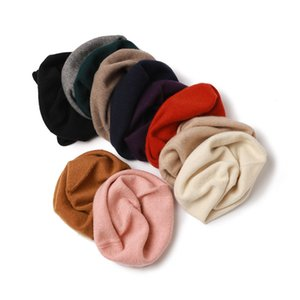 100% knitting cashmere cap autumn winter style beading ladies fashion keeping warm korea vision cap mulit colour