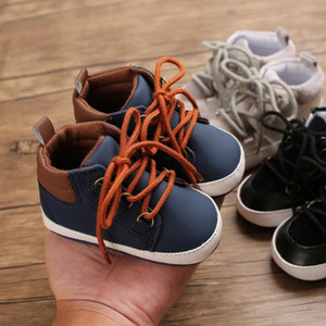 2021 Autumn Fashion Baby Boys Newborn First Walker Patchwork Design Anti-Slip Sneakers Toddler Soft Soled PU Casual Shoes