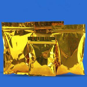 100pcs gros plat Shinny d'or en feuille d'aluminium Ziplock Sac Snack Cookie Café Emballage cadeau Sac brillant d'or Ziplock Pouches