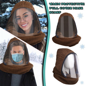 2020 New zipper clamshell transparent face mask for winter warm with neck mask fashion lip-language mask design Knitted material