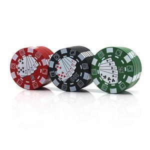 Poker Chip Стиль 40мм 3 слоя California алюминиевого металла для курения Херб Grinder Tobacco Vape шлифмашины Аксессуары DHL Доставка