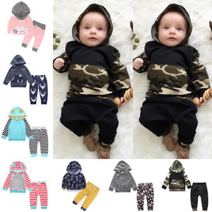 Baby Suits 40 styles Baby Boys Girls Floral Print Suits Infant Clothes Set Hoddies Pants Baby Long Sleeve Outfits Ins Clothing Set