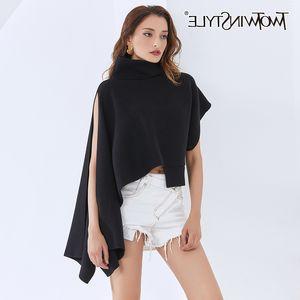 TWOTWINSTYLE Irregular Sweater For Women Turtleneck Batwing Short Sleeve Side Split Knitting Sweaters Female 2020 New Clothing