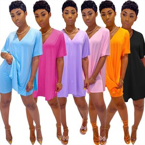 Womens Summer Fashion Casual Solid V Neck Batwing Short Sleeve Loose Top and Shorts Two Piece Set
