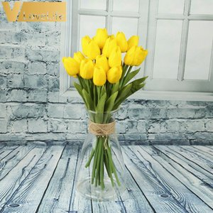 9 PCS Artificial Tulip Flowers Mini tulip Flowers Real Wedding For Wedding Banquet Bridal Bouquet Decoration