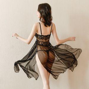 2020 Newest Women's Black Sexy Lace Nightwear Passional Hot Lace Dress Two Colors Size F Sexy Underwear Sleepwear