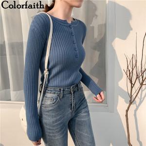 Colorfaith Automne Hiver Printemps Pullovers pull en tricot Boutons élégants Casual Mesdames cavaliers talonnage SW9065 201012