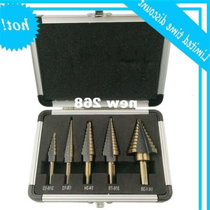 5pcs Set HSS COBALT MULTIPLE HOLE 50 Sizes STEP DRILL BIT SET wood   Aluminum Case free shipping!