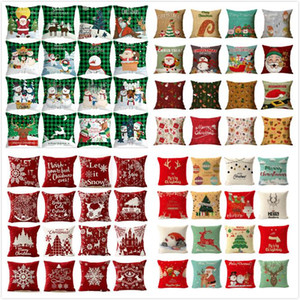 Christmas Pillow Case Santa Claus Christmas Tree Snowman Pillow Case Colorful Pillow Cover Home Sofa Car Decor Cushion OWB2222