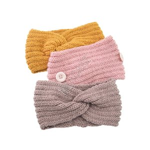 Knitted Headband Headbands Winter Warm Knitting Headwrap with Button for Ear Protective Designers Mask Holder Hairlace D82701