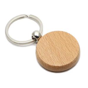 50X Wooden Key Chain Circle 1.57'' Blank Keychains Cheap Name Custom key ring #KW01Y FREE SHIPPING
