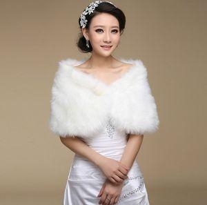 2020 Hot Sale Fashion Elegant Warm Faux Fur Ivory Bolero Wedding Wrap Shawl Bridal Jacket Coat Accessories Pearl