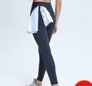 Yoga Leggings Classic Slim High Waist Yoga Pants Side Waist Hanging Towel Band Sports Running Fitness Elastic Capris Full Length Trouses