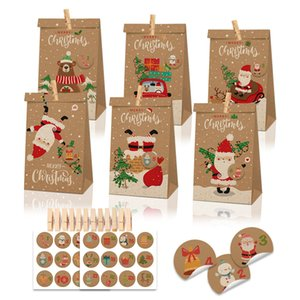 Treat Greaseproof 24pcs Candy Apple Kraft Bags Paper for Birthday New Year Party Favors Supplies Christmas Sticker Bag