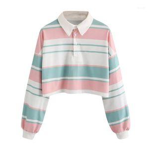 harajuku kawaii t-shirt women long sleeve top 2 Casual Drop Shoulder Striped Crop Pullover Sweatshirt Top Bluses korean style11