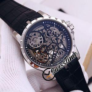 جديد Excalibur العنكبوت 46 RDDBEX0393 RD505SQ التلقائي الرجال ووتش الهيكل العظمي الهاتفي الصلب حالة جلد أسود حزام الرجالية الساعات swisstime strm