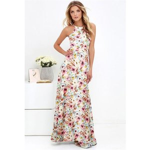 Bir Seksi Kadınlar Maxi Boho Elbise Halter Boyun Çiçek Baskı Kolsuz Yaz Elbise Tatil Uzun Kayma Plaj Elbise Vestidos T200604