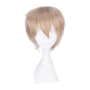 Halloween Anime linen cosplay wig for Men 30cm 11.81 blonde Heat Resistant Synthetic Hair cosplay Wigs male Universal1