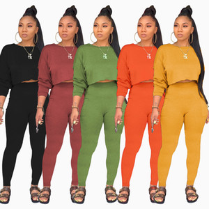 9046 women's fashion round neck long sleeve sweater pocket Pants Set solid two piece set
