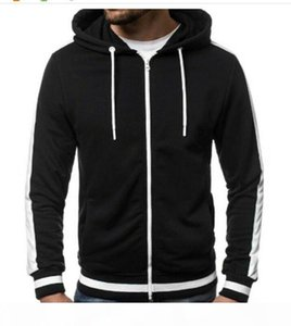 Mens Plus Size Hoodie Hooded Zipper Top Sweatshirt Jacket Size M-3xl Fashion Zip Up Hoody Sweatshirt 5 Color Avaliable T200914