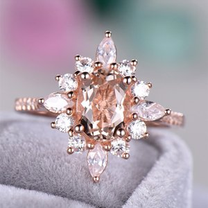 Solid Sterling Silver Rose Gold Ring New Style Champagne Diamond Ring European and American Creative 18k Rose Gold Plated Engagement Ring