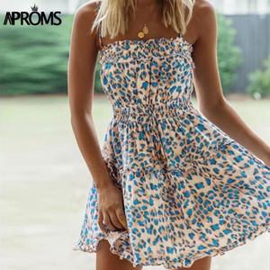 Aproms Boho LeoPard Print Летнее платье Женщины повседневная без рукавов высокая талия линия повседневная короткая мини-платье Roots Sundresses 20201