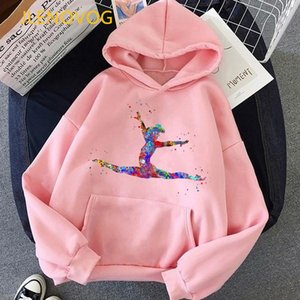 watercolor gymnastics splatter print hoodies women clothes 2020 vogue kawaii clothes for girls winter sweatshirt women tracksuit
