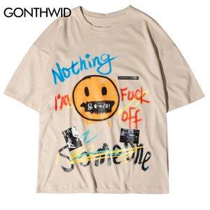GONTHWID Graffiti Letters Smile Face Print Streetwear Tees Shirts Hip Hop Harajuku Casual Tshirts Men Fashion Short Sleeve Tops 1005