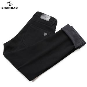inverno jeans preto Shan BAO homens clássico marca de couro vestuário de marca de lã de algodão grosso e quente jeans slim jeans retas