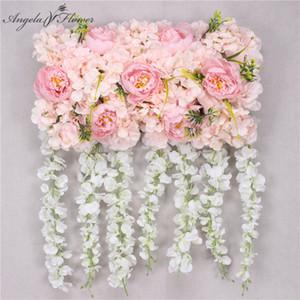Luxury 50cm party wedding arch backdrop wall decor props silk peony hydrangea artificial flower arrangement road lead flower row