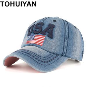 TOHUIYAN USA Flag Embroidery Caps For Men Women Retro Denim Baseball Cap Autumn Strapback Casquette Hip Hop Hat Couples Snapback 201019