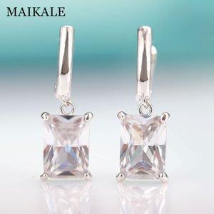 MAIKALE New Fashion Square Gradient Blue Drop Earrings For Women Rose Gold Fine Jewelry Tourmaline Zircon Glass Dangle Earrings