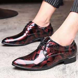 Large Size 37-48 Designer Men Print Dress Shoes Patent Leather Luxury Fashion Groom Wedding Men Oxford for