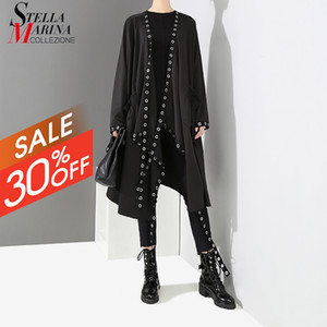New 2020 Korean Style Women Solid Black Unique Open Design Big Size Long Tape Metal Holes Female Loose Jacket Cloak 3843