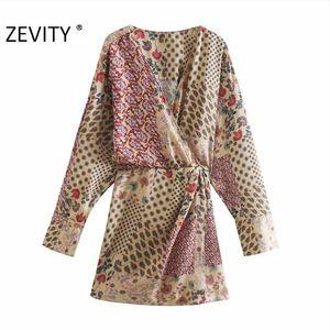 Zevity Autumn Women Vintage Cross V Neck Cloth Patchwork Print Playsuits Ladies Chic Retro Casual Kimono Conjoined Shorts DS4537