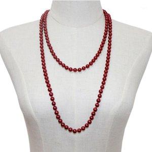 """Moda Simule-Pearl Round Beads Colar de Cadeia Longa para Mulheres Declaração Colares Glass Shell Pearl Gift Jóias 56 """"A9671"""