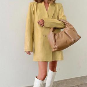 Kadınlar Yeni Siyah Deri Blazers Coat Çentikli Yaka Uzun Kollu Düğme Ceket Kış Sonbahar Ofis Lady Gevşek Uzun Blazers