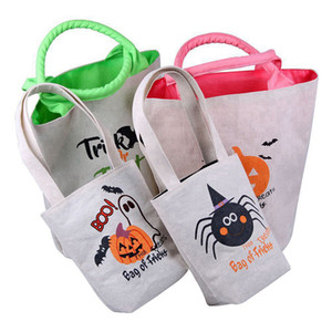 4pcs / set Halloween Trick or Treat Tote Bag con manici Busta riutilizzabile tela di canapa per regali della caramella Grocery Shopping favori per i bambini per adulti RRA3670