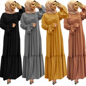 Muslim Women Hijab Dress Solid Color Ruffle Petal Sleeve Maxi Long Dress Islamic Clothing Caftan Kimono Big Swing Abaya Dresses