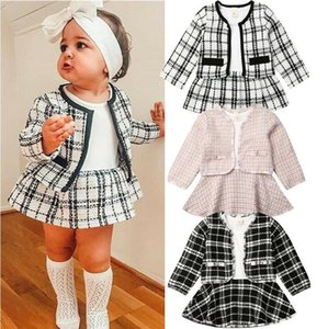 2020 Europe and America popular fashion fashion long sleeve dress two piece children's and girls' Plaid suit