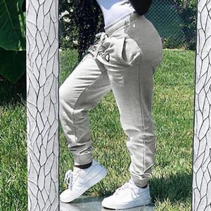 LOOZYKIT 2020 Off Hombres letra de la impresión gris pantalón Joggers WomenAutumn invierno Streetwear pantalones informales pantalones con cordón