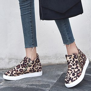 Hot Sale- Leopard Boots Women Casual Flat Zipper Plus Size Single Shoes Autumn Winter Students Running Shoes woman