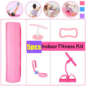 5 PCS Set Yoga Mat Training Equipment Indoor Workout Gear Resistance Bands Stretch Tension Pull Rope Full Body Muscle Exercise