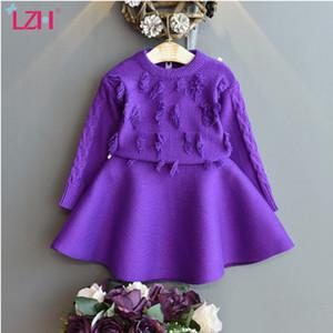 LZH 2020 autunno inverno neonate maglieria vestiti manica lunga gonna 2 pezzi Set Suit Abbigliamento per bambini Per i più piccoli vestiti 2-3-5 Anno 0930