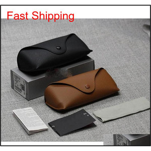 Wholesale Black Sun Glasses Case Retro Brown Leather Sunglasses Box Discount Cheap Fashion Eye Glasses Pouch Without Cleaning Cloth O0M04